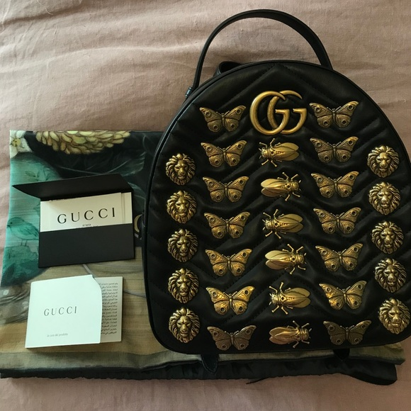 52618438caef Gucci Handbags - GG Marmont animal studs leather backpack