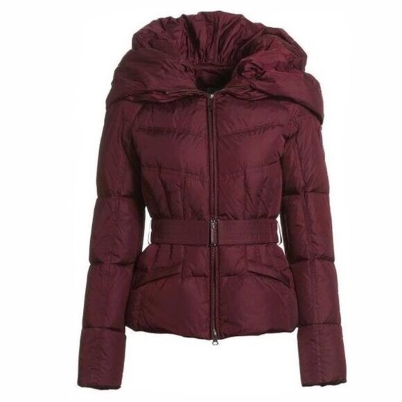 b4deaf96 Add Down Jackets & Coats | Red Maroon Icon 10 Belted Puffer Coat ...