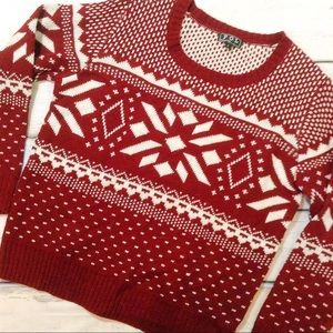 Sweaters - Fair Isle Snowflake Chunky Knit Holiday Sweater