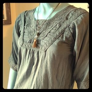 Grey Natura Cotton Boho Tunic