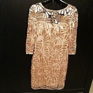JS Collection Rose Gold Sequin Lace Cocktail Dress