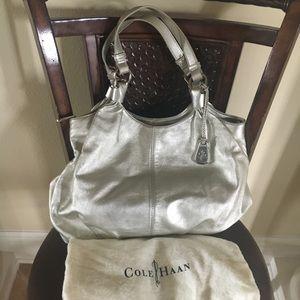 Metallic Silver Cole Haan Hobo Bag
