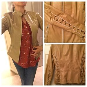 Elie Tahari corseted leather jacket