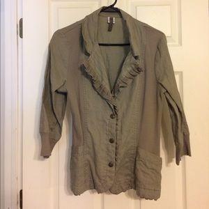 XCVI linen blazer with collar and fringe Sz Lg