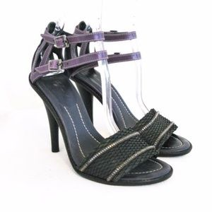 7 For All Mankind Strappy Snakeskin Heeled Sandal
