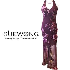 Sue Wong 💃🏻 Rose-Embroidered Silk Dress