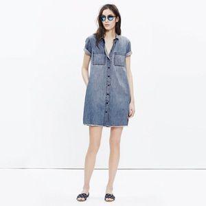 Madewell Women's Blue Denim Raw-edge Dress