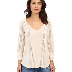 Lucky Brand Lace Trim Peasant Blouse Top