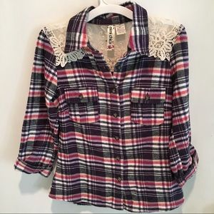 Mimi Chica Button Up Plaid Shirt With Lace
