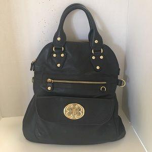 Emma fox black leather satchel