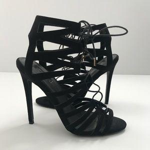Top Shop Black Lace-up Heels Sz 40