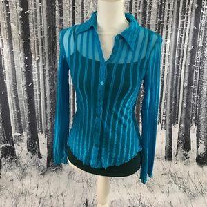 Look hot is this sheer blue Bebe medium top