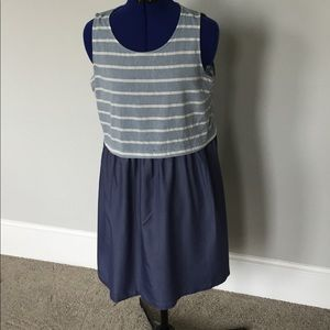 Skies Are Blue Striped Chambray Dress