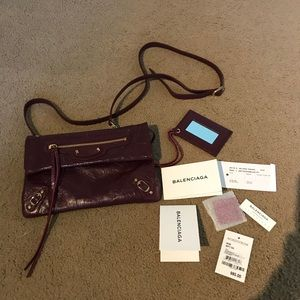New Balenciaga mini classic envelope bag w gold hw