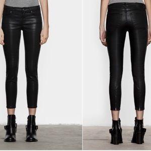 Allsaints Brodie petrol wax coated skinny jeans