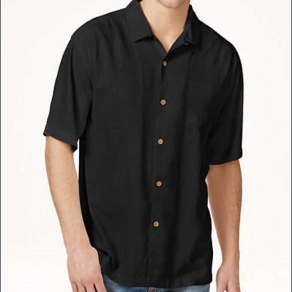 9aaea1a54a7d06 Men s Tommy Bahama 100% Silk Black Shirt