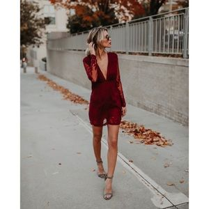 Wine Plunging Lace Long Sleeve Dress