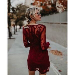 Dresses - Wine Plunging Lace Long Sleeve Dress