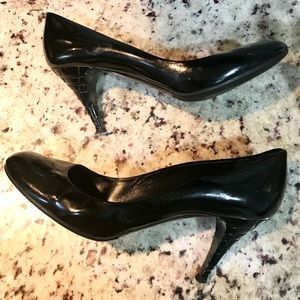 Burberry Black Patent Leather Nova Check Heel EU40