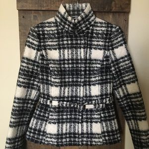 Belted Houndstooth Wool Coat