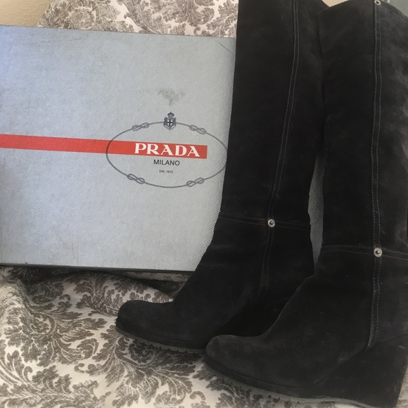 beautiful style free delivery search for clearance Prada suede wedge knee length boots