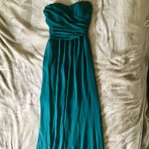LuLu's Size Small long teal strapless dress