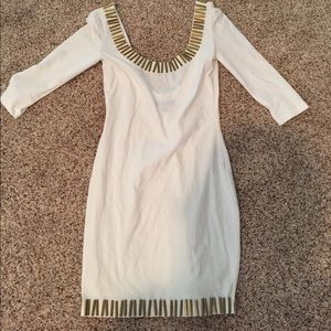 White & gold rod dress