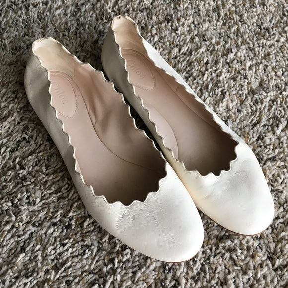 68a334861e4 Chloe Shoes - Chloé Lauren scalloped flats in Cloudy White