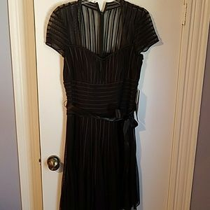 Brand new black stripped dress with satin belt