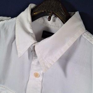 Dockers White Long Sleeve Medium Dress Shirt
