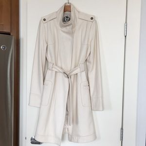 Cream/off white wool blend trench coat