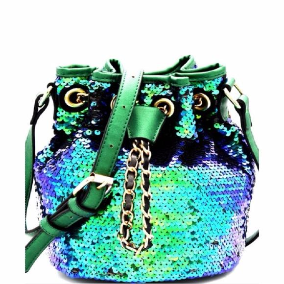 e3f7ba69a33a Mermaid Sequin Bucket Bag Purse New Emerald Green Boutique