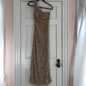 One shoulder- gold beaded gown