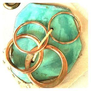 Anthropologie Artisan Copper Stacking Ring Set