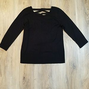 NWT Cable & Gauge black sweater w/lattice back