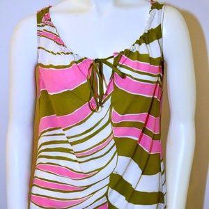 Size XS P Trina Turk LA Green Pink 100% Silk
