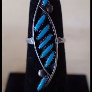 Jewelry - 925 Zuni Petit Point Turquoise Ring sz4.75