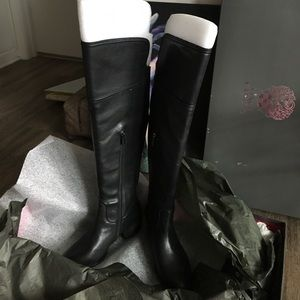 NWT Over-the-knee black leather Vince Camuto boots