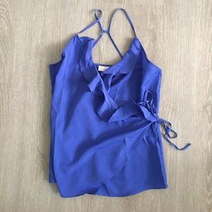 Royal blue side tie top