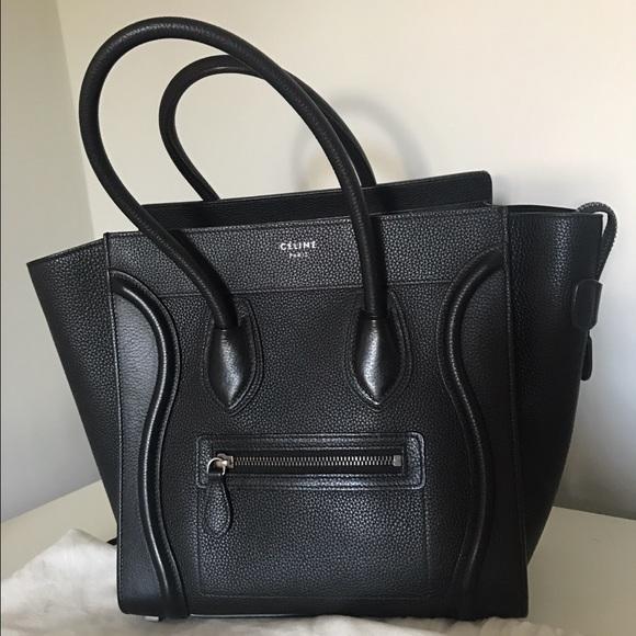 4a5e0369be01 Celine Drummed Calfskin Micro Luggage Black