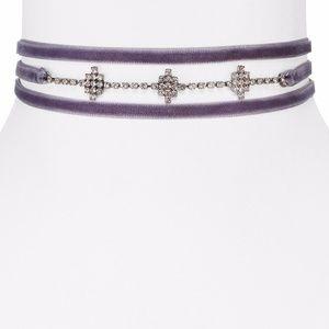 AQUA Juniper Velvet Choker Necklace