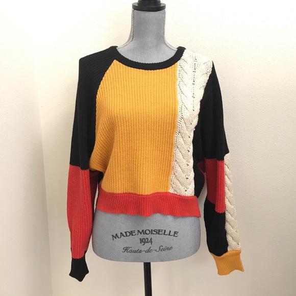 Moon Madison Sweaters Moon Madison Color Block Braid Crop