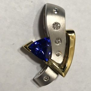 Jewelry - 18k Two Tone Modern Tanzanite Diamond Pendant