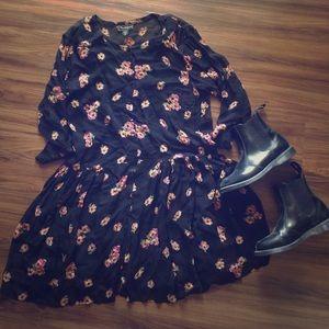 Vintage nostalgia babydoll dress button up