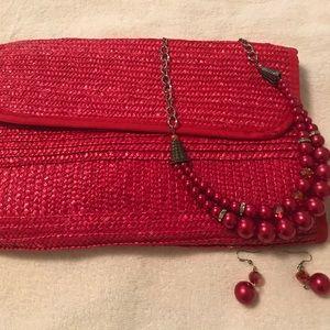 Handbags - Red women's straw purse