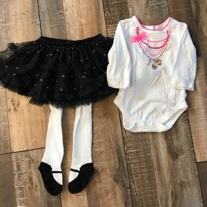Detailed onesie with matching tutu w/tights