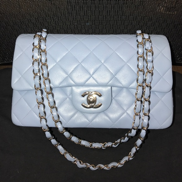 CHANEL Bags   Light Blue Lambskin Medium Double Flap Bag   Poshmark a7b9564778