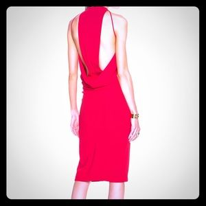 Nicholas red crepe, draped back dress, size 8