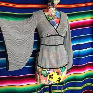 Trina Turk Striped Kimono Houndstooth Silk Blouse