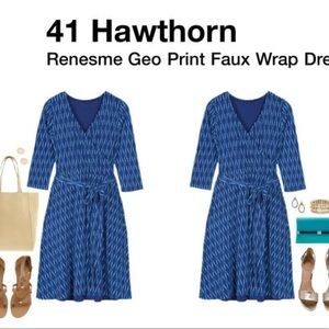 Stitch Fix 41Hawthorne Geo Print Faux Wrap Dress